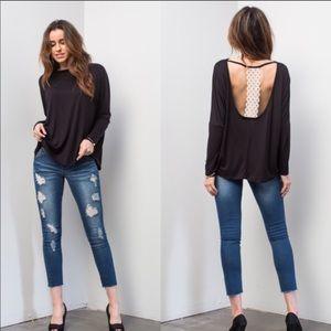 ONE LEFT! 2X/3X Black Long Sleeve Dressy Top